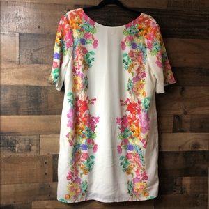 ASOS Cream Floral Side V Back Fitted Dress